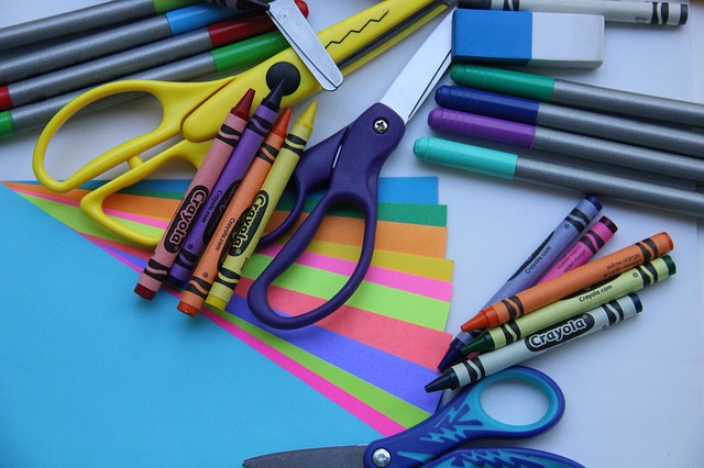 scissors, crayons and paper